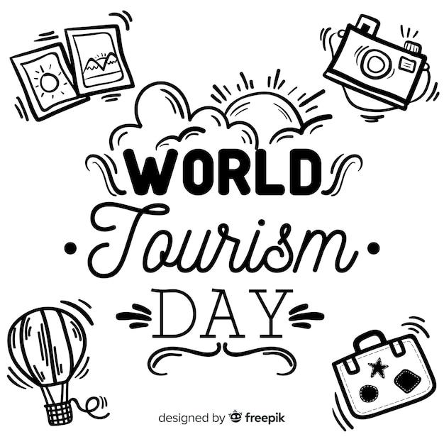 Tourismus-tageskonzept mit schriftzug Kostenlosen Vektoren