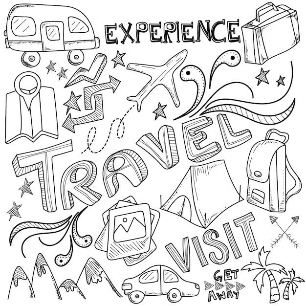 Tourismus und reisen Premium Vektoren