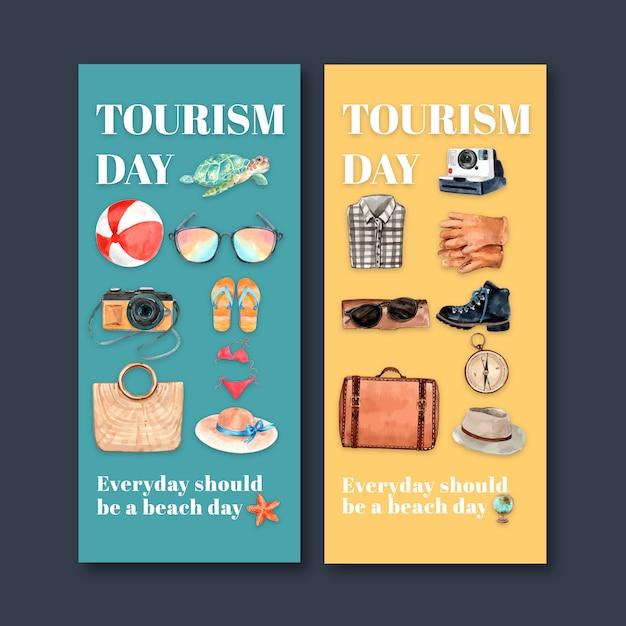 Tourismusfliegerdesign mit wasserball, schildkröte, kamera, bikini, zubehör. Kostenlosen Vektoren