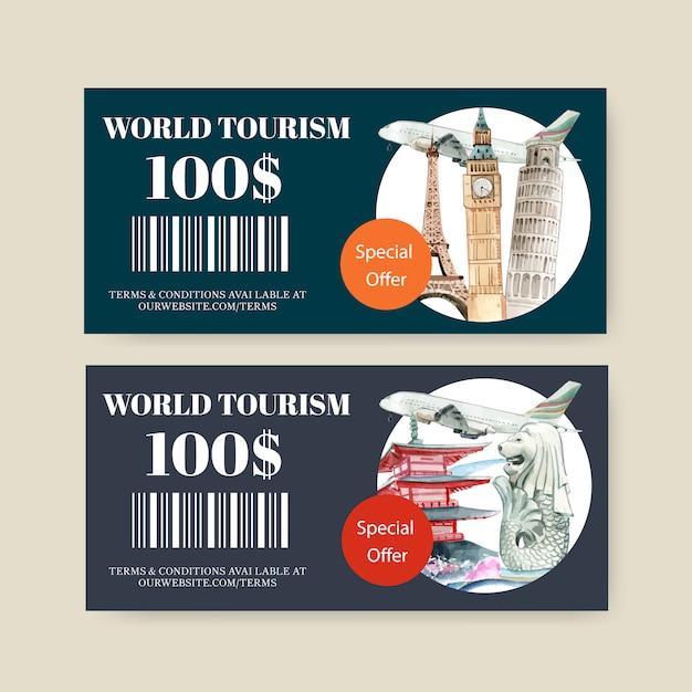 Tourismusgutscheingestaltung mit eifelturm, glockenturm, schiefer turm von pisa Kostenlosen Vektoren