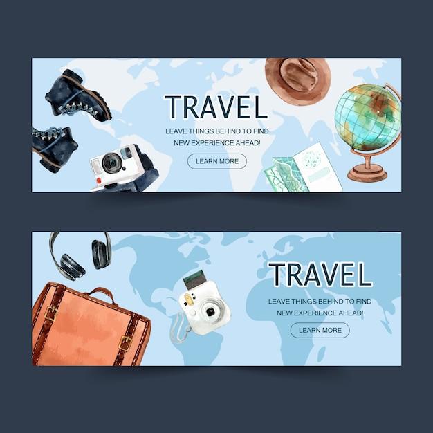Tourismustagesfahnendesign mit gepäck, stiefeln, polaroidkamera, kopfhörern Kostenlosen Vektoren