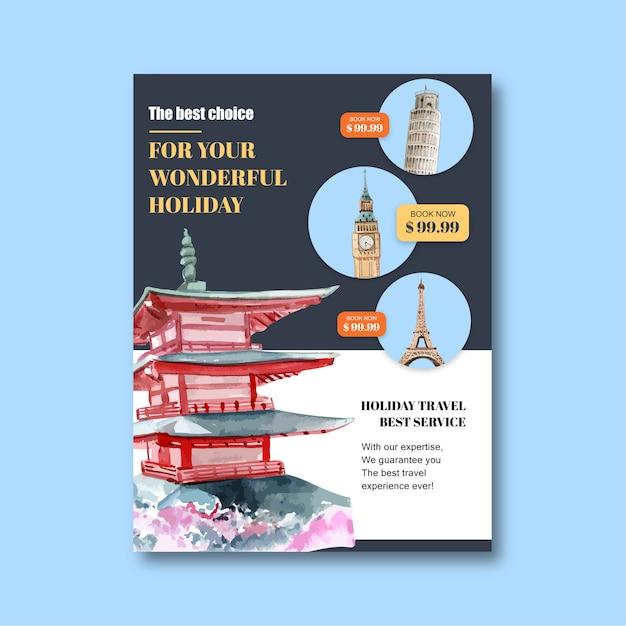 Tourismustagesfliegerdesign mit palast, schloss, errichtend Kostenlosen Vektoren
