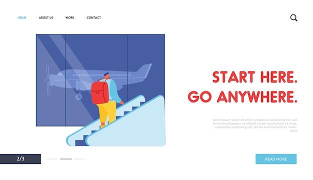 Tourist auf rolltreppe website landing page Premium Vektoren