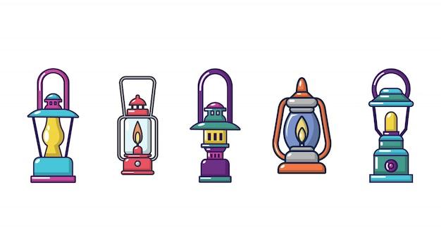 Tourist lampe icon set. karikatursatz touristische lampenvektorikonen eingestellt lokalisiert Premium Vektoren