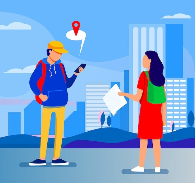 Tourist mit papierkarte, die das ziel fragt Kostenlosen Vektoren