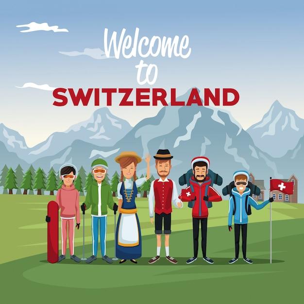 Tourist und traditionelle menschen mit text willkommen in der schweiz Premium Vektoren