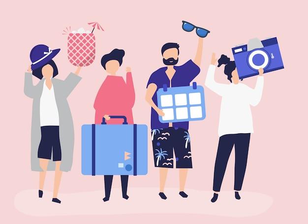 Touristen, die an einem tropischen feiertag gehen Kostenlosen Vektoren