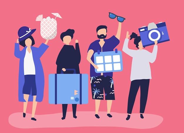 Touristen, die auf einen tropischen feiertag gehen Kostenlosen Vektoren