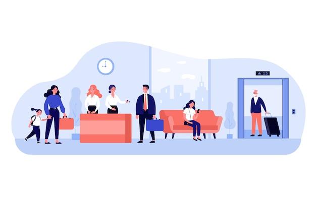 Touristen in der hotellobby Premium Vektoren