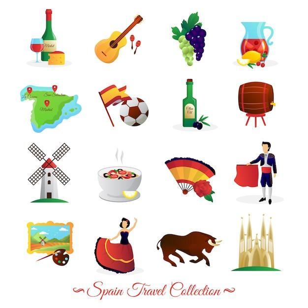 Touristenattraktionen in spanien und nationale kultursymbole wein und flache ikonensammlung des lebensmittels Kostenlosen Vektoren