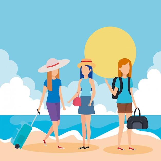 Touristenmädchen mit koffern am strand Premium Vektoren