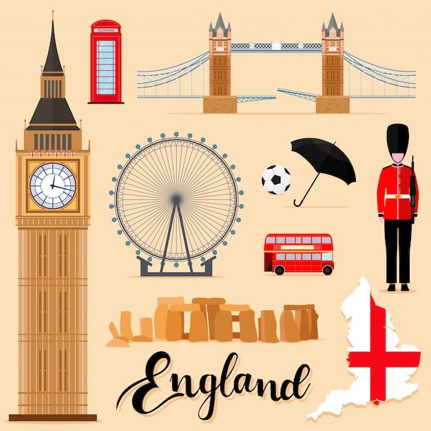 Touristische england travel set-sammlung Premium Vektoren