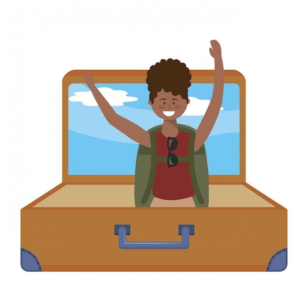 Touristische mädchenkarikatur mit taschendesign Premium Vektoren