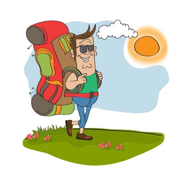 Touristische mann mit rucksack unterwegs Kostenlosen Vektoren