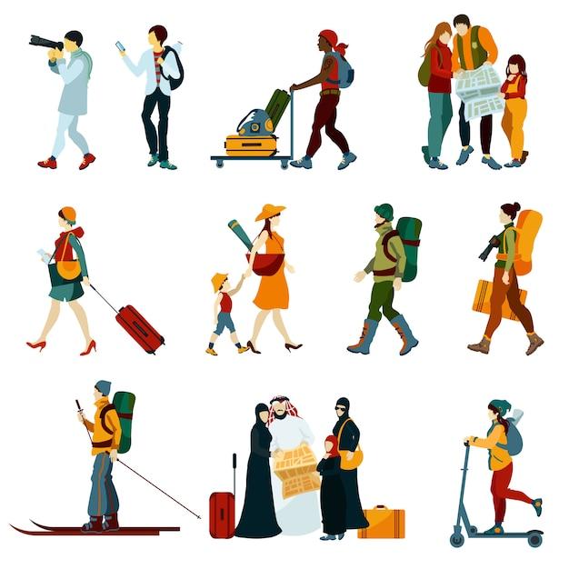 Touristische menschen festgelegt Kostenlosen Vektoren