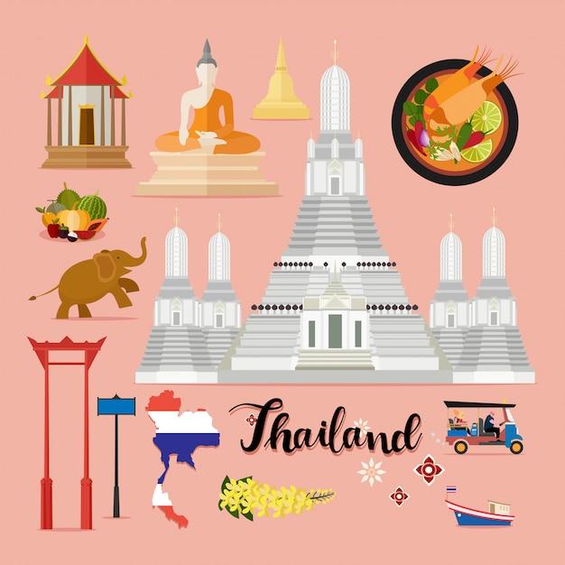 Touristische set von thailand-reisen Premium Vektoren