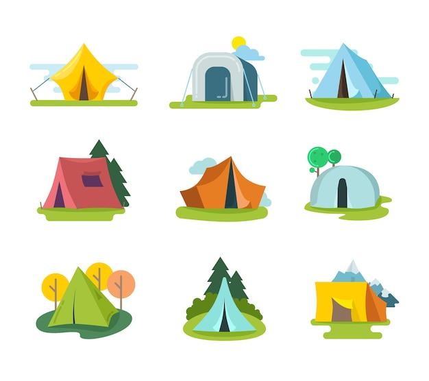 Touristische zelte vektor gesetzt in flachen stil. erholungsabenteuer, ausrüstung für urlaub im freien, illustration der tourismusaktivität Kostenlosen Vektoren