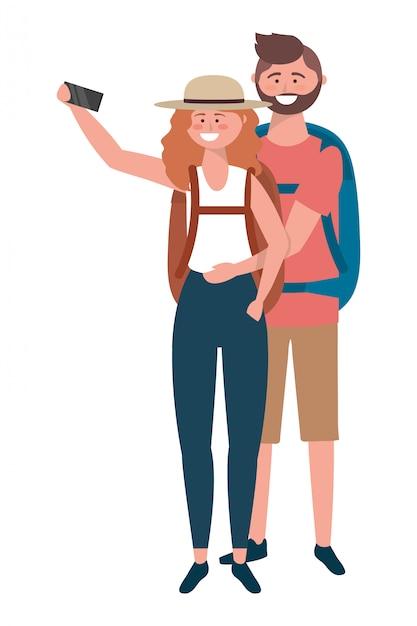 Touristischer junge und mädchen mit taschendesign Premium Vektoren