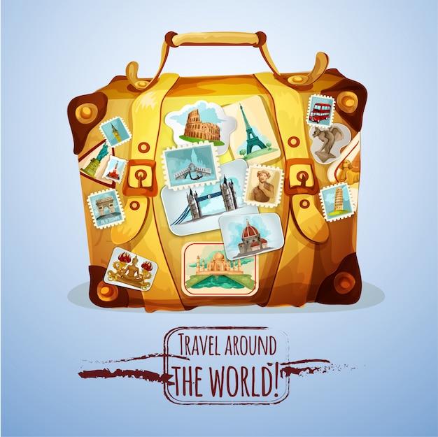 Touristischer koffer mit briefmarken Kostenlosen Vektoren