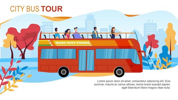 Touristischer stadtbus bereist flache anzeigen-fahne Premium Vektoren