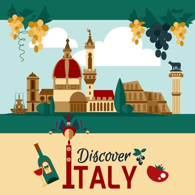 Touristisches plakat italiens Kostenlosen Vektoren