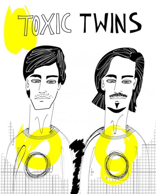 Toxische zwillinge illustration Premium Vektoren