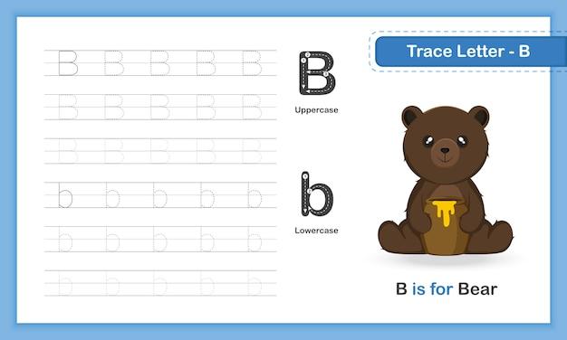 Trace letter-u: az tierhandschreibübungsbuch Premium Vektoren