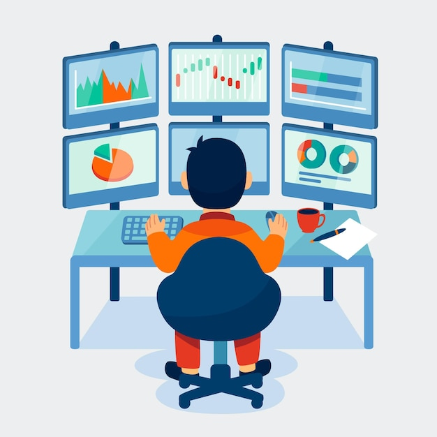 Trader arbeitskonzept Premium Vektoren