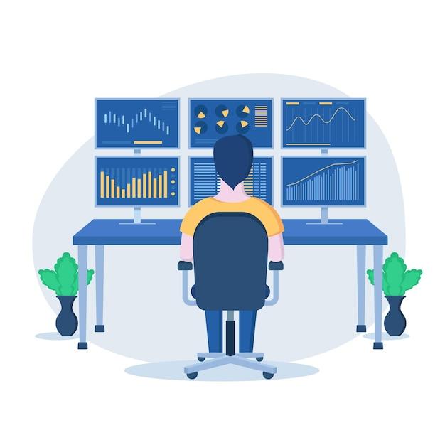 Trader arbeitskonzept Kostenlosen Vektoren