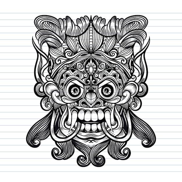 Traditionelle balinesische maske des schrecklichen mythischen verteidigers Premium Vektoren