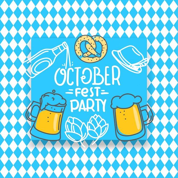 Traditionelle bayerische feiertagsfahne, oktoberfestparty Premium Vektoren