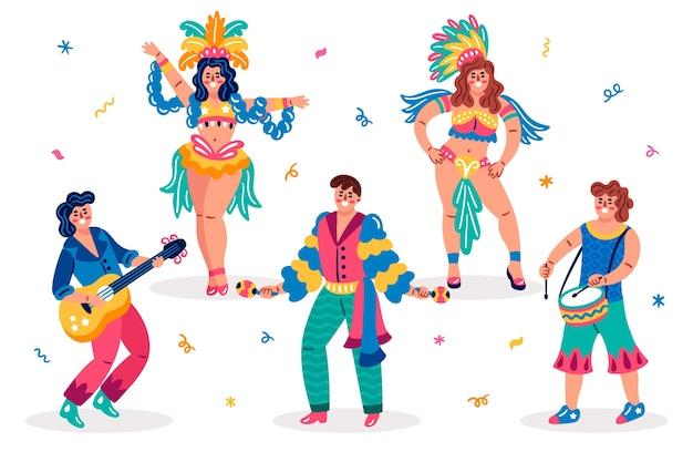 Traditionelle brasilianische tänzer und kleidung Kostenlosen Vektoren