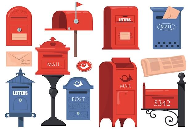 Traditionelle englische briefkästen gesetzt. rote und blaue weinlesepostfächer, alte briefkästen mit buchstaben lokalisiert auf weißem hintergrund. Kostenlosen Vektoren