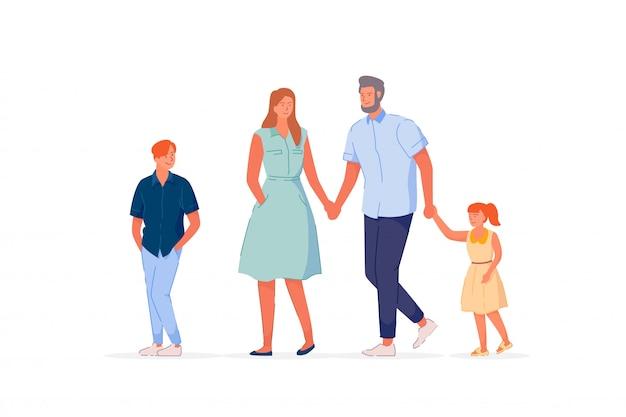 Traditionelle familie, die auf weißem hintergrund geht Premium Vektoren