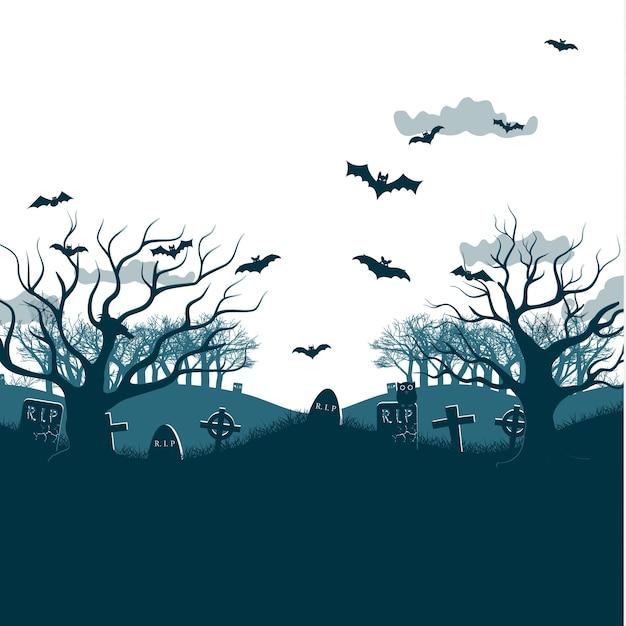 Traditionelle feiertags-halloween-nacht-partyillustration mit zwei toten bäumen, fledermäusen, die über gräber und friedhofskreuze fliegen, graue wolken flach Kostenlosen Vektoren