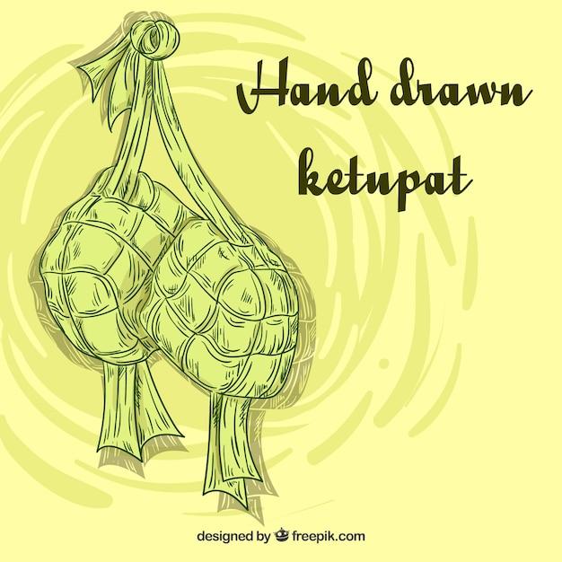 Traditionelle hand gezeichnete ketupatzusammensetzung Kostenlosen Vektoren