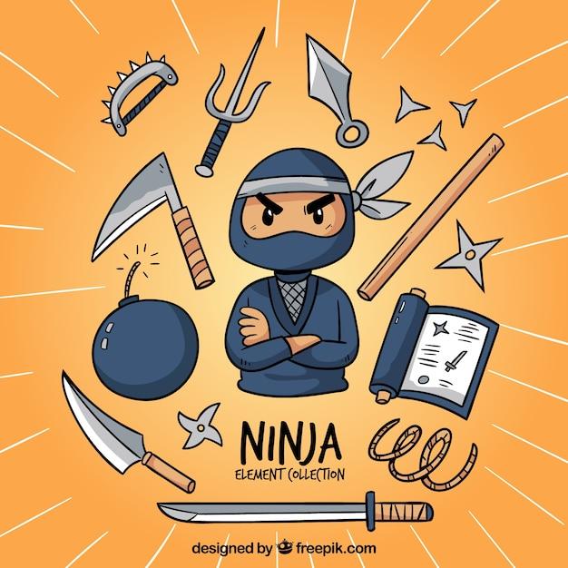 Traditionelle hand gezeichnete ninja elementsammlung Kostenlosen Vektoren
