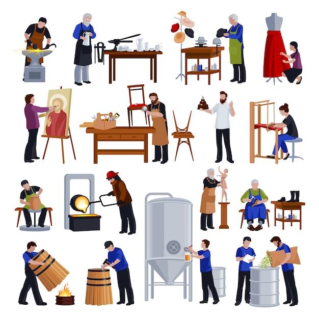 Traditionelle handwerker-flache ikonen eingestellt Kostenlosen Vektoren