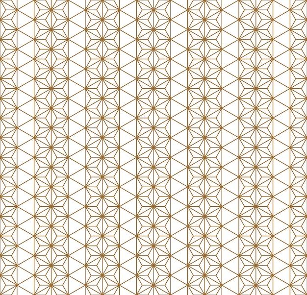 Traditionelle japanische geometrische verzierung des nahtlosen musters goldene farblinien. Premium Vektoren