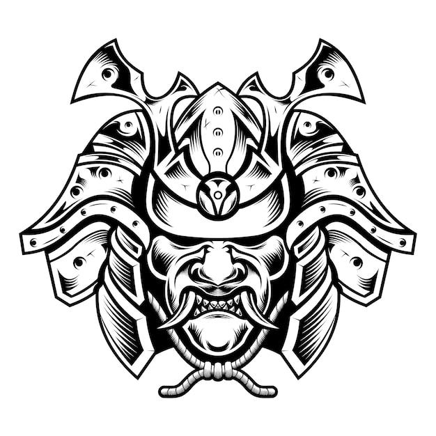 Traditionelle japanische samurai-legende-kriegermaskenillustration Premium Vektoren