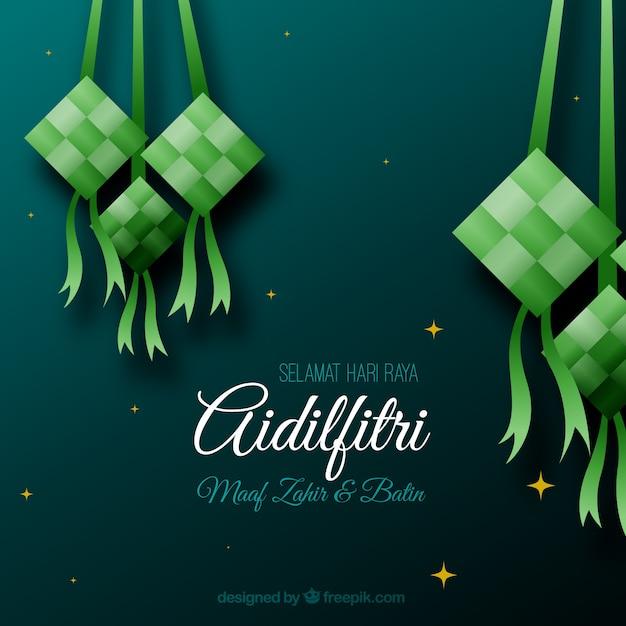 Traditionelle ketupatzusammensetzung mit flachem deisgn Kostenlosen Vektoren