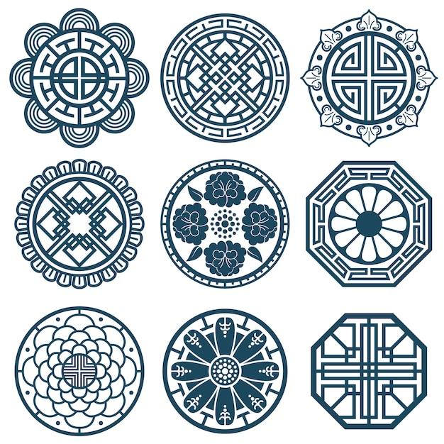 Traditionelle koreanische symbole Premium Vektoren