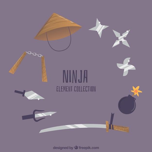 Traditionelle ninja elementsammlung mit flachem design Kostenlosen Vektoren