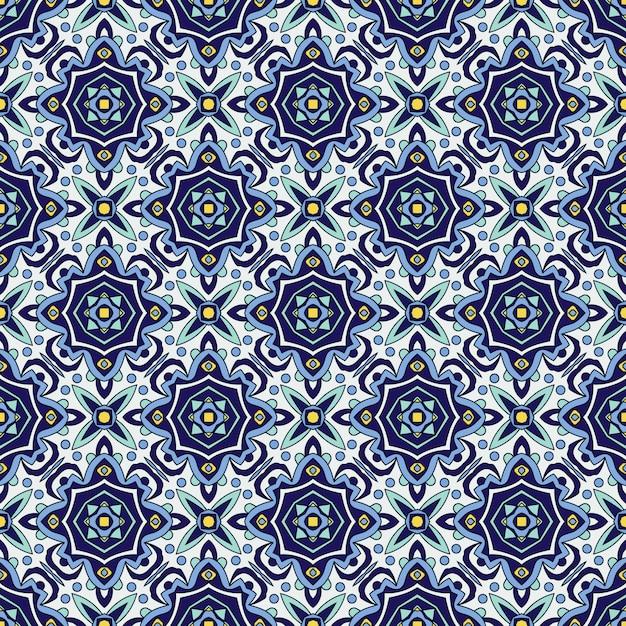 Traditionelle portugiesische azulejos der blauen verzierung. orientalisches nahtloses muster Premium Vektoren