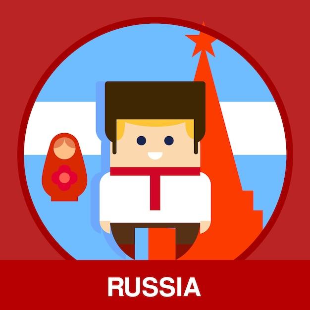 Traditionelle russische mannillustration Premium Vektoren