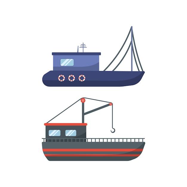 Traditionelle seeschiffe, sammlung von seetransporten. seemotorschiffe, ozeansegelboote, yachten und katamarane, isolierter seetransport. lieferung kreuzfahrtschiff und segelboot. Premium Vektoren