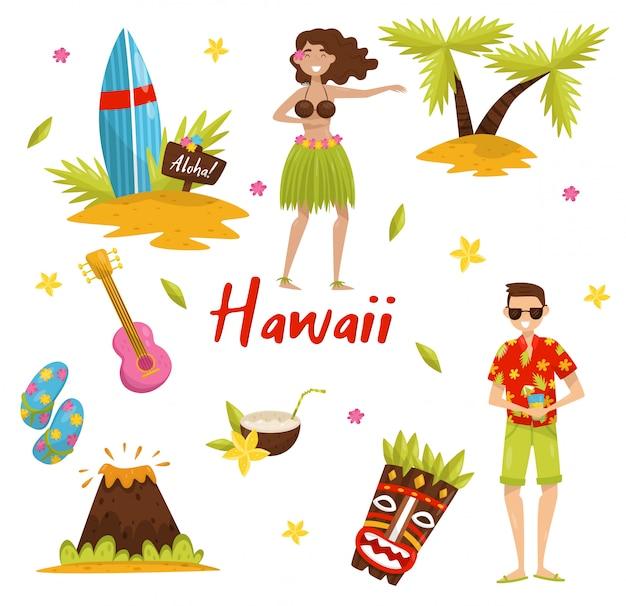 Traditionelle symbole der hawaiianischen kultur gesetzt, surfbrett, palme, vulkan, tiki stammesmaske, ukulele illustrationen auf einem weißen hintergrund Premium Vektoren
