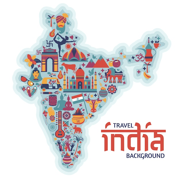 Traditionelle symbole in form einer karte von indien Premium Vektoren
