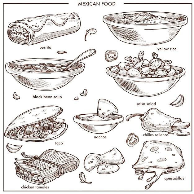 Traditionelle teller der mexikanischen lebensmittelküche vector skizzenikonen für restaurantmenü Premium Vektoren