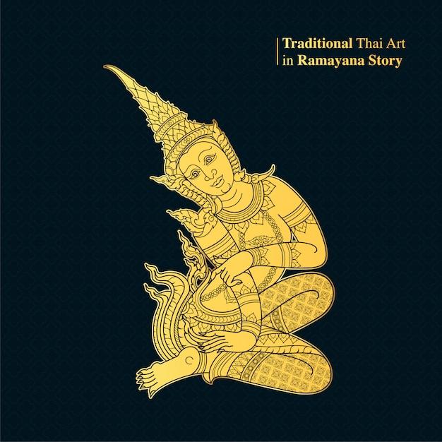 Traditionelle thailändische kunst in der ramayana-geschichte, artvektor Premium Vektoren